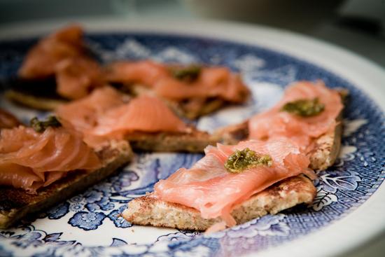 Toasts de Blinis au saumon fumé et à l'huile d'Argan