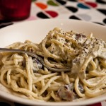 Spaghetti  la crme et aux morilles