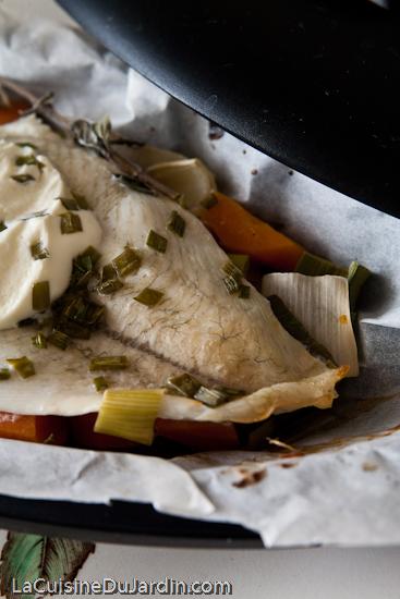 Papillotes de carrelet au poireau et aux carottes