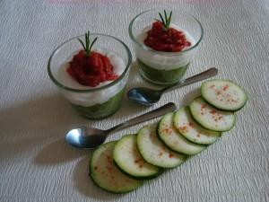 Tiramisu de courgettes et tomates confites
