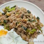 Riz sauté sauce soja - brocolis et courgette