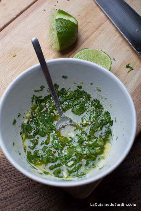 Sauce coriandre et citron vert